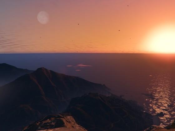 Sonnenuntergang auf dem Mount Chiliad