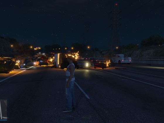 Explosionen auf dem Highway